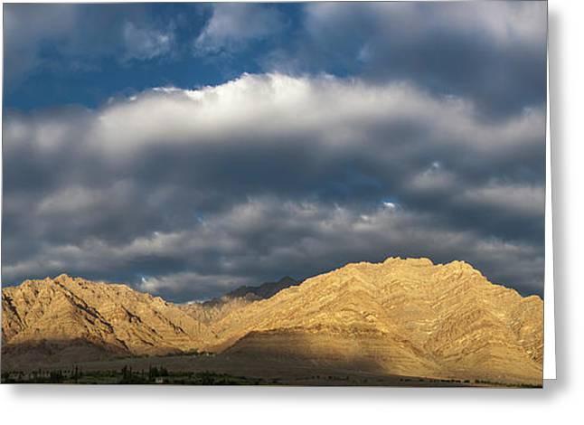 Greeting Card featuring the photograph Hemis Panorama, Karu, 2005 by Hitendra SINKAR