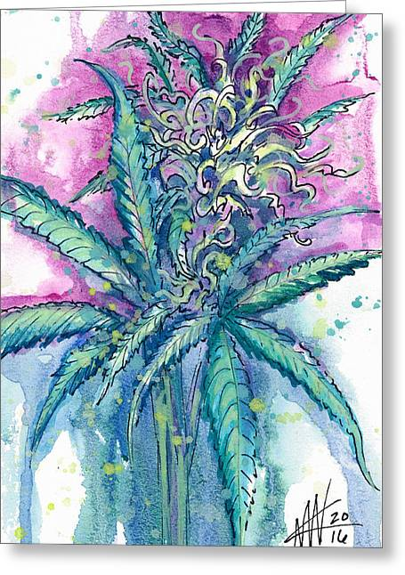 Greeting Card featuring the painting Hemp Blossom by Ashley Kujan
