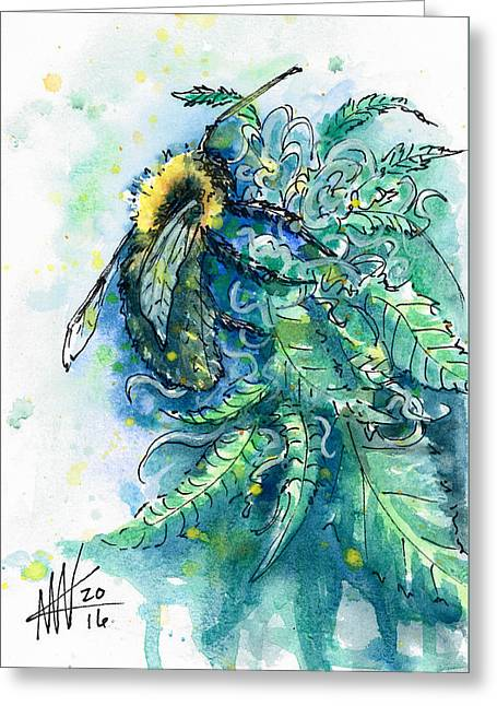 Greeting Card featuring the painting Hemp Flower Honey Bee by Ashley Kujan