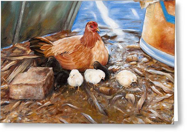 Hen And Biddies Greeting Card