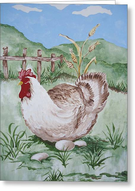 Hen And Eggs Greeting Card