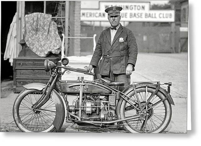 Henderson Motorcycle Cop - Washington D. C.  1922 Greeting Card by Daniel Hagerman