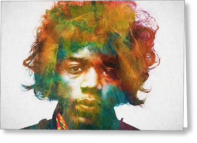 Hendrix Greeting Card by Dan Sproul