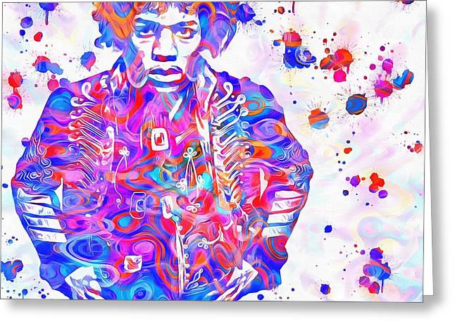 Hendrix Paint Splatter Greeting Card by Dan Sproul
