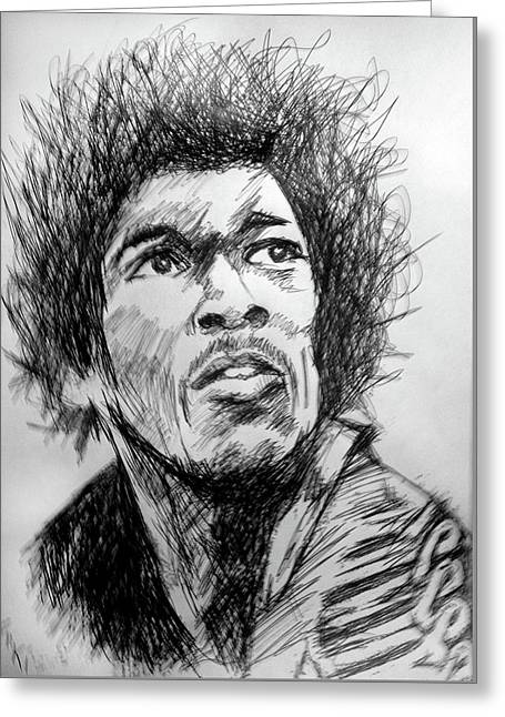 Hendrix Pen Drawing  Greeting Card