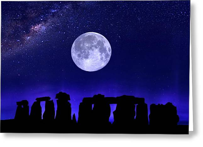 Henge Under The Supermoon Greeting Card