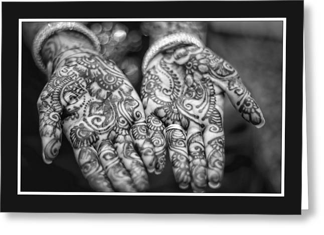 Henna Hands Black And White Greeting Card