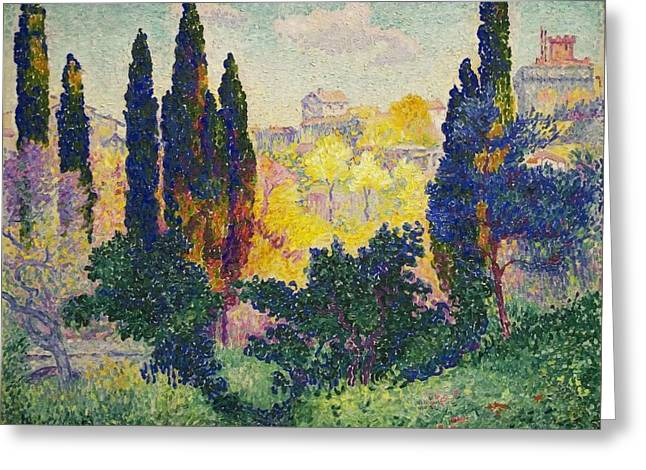 Henri Edmond Cross French Les Cypres A Cagnes Greeting Card