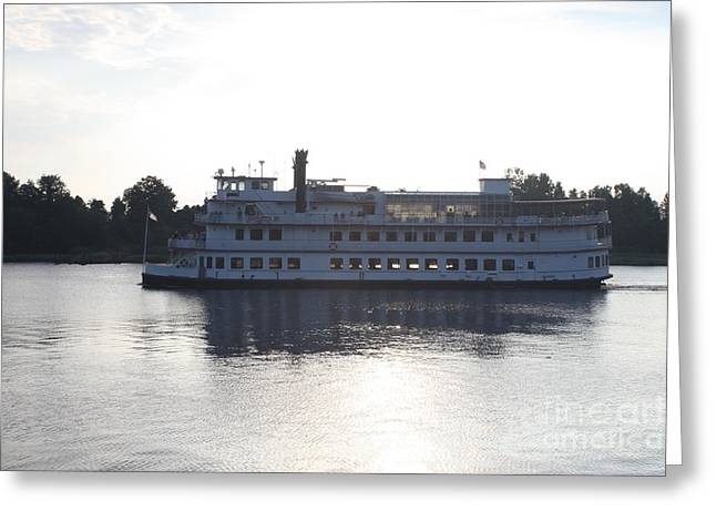Henrietta IIi Riverboat Floating Down Cape Fear Nc Greeting Card