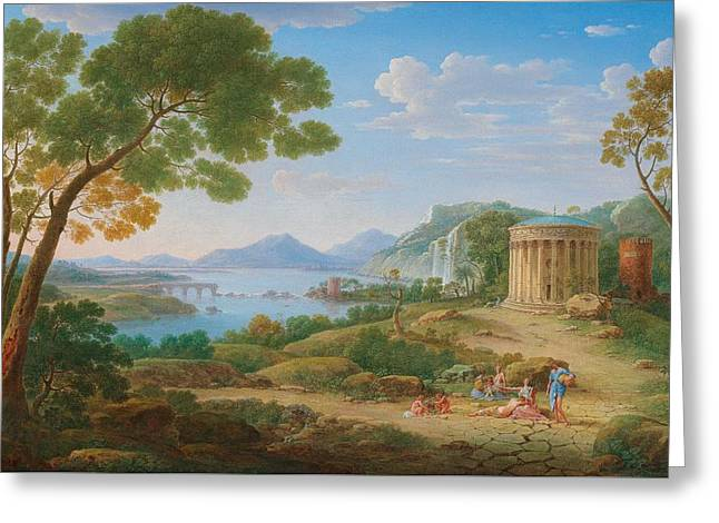Henrik Frans Van Lint Antwerp 1684-1763 Rome A Classical Landscape With Figures Seated Before A Te Greeting Card