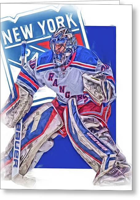 Henrik Lundqvist New York Rangers Oil Art Greeting Card by Joe Hamilton
