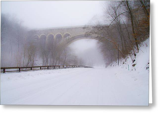 Henry Avenue Bridge And Lincoln Drive In The Snow Greeting Card by Bill Cannon