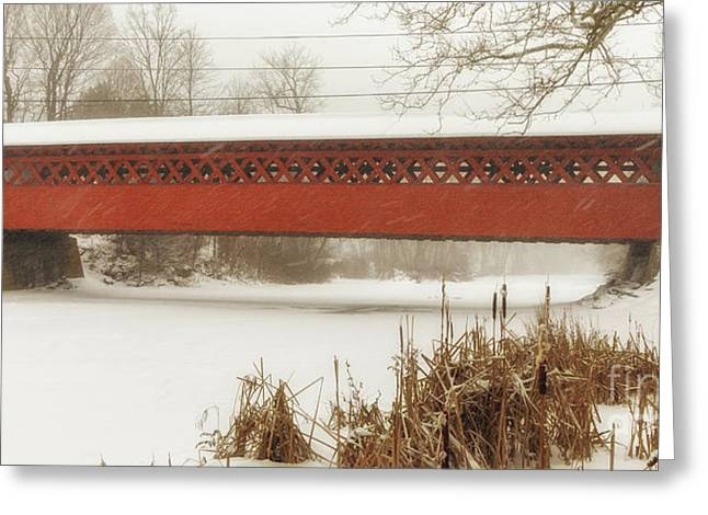 Henry Covered Bridge In Winter Greeting Card