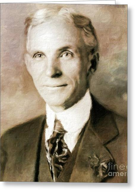 Henry Ford By Mary Bassett Greeting Card
