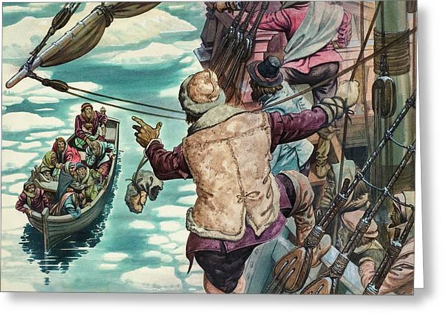 Henry Hudson Being Set Adrift Greeting Card by Peter Jackson