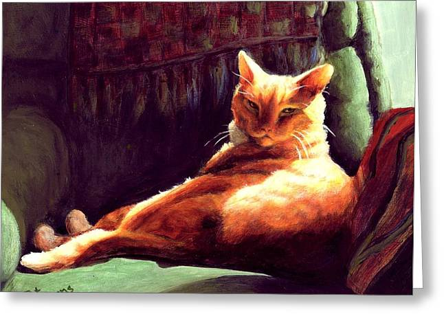 Orange Tabby Paintings Greeting Cards - Henry in Sunshine Greeting Card by Pat Burns
