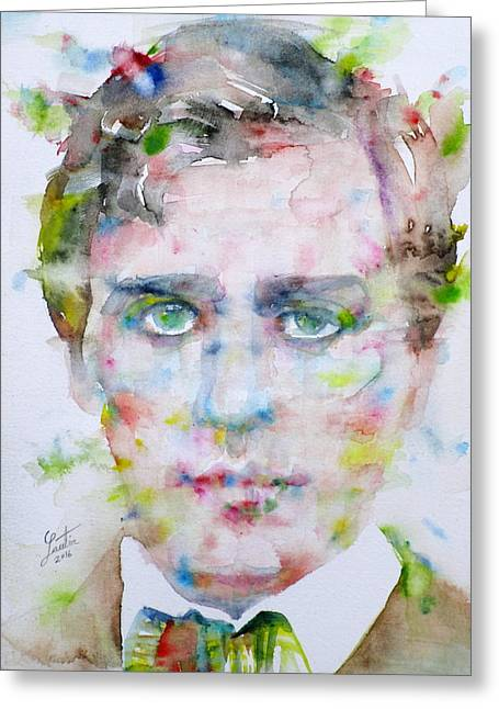Henry James - Watercolor Portrait.1 Greeting Card by Fabrizio Cassetta