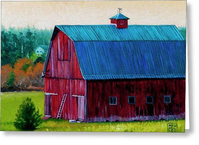 Landing Paintings Greeting Cards - Henry Strong Barn circa 1928 Greeting Card by Stacey Neumiller