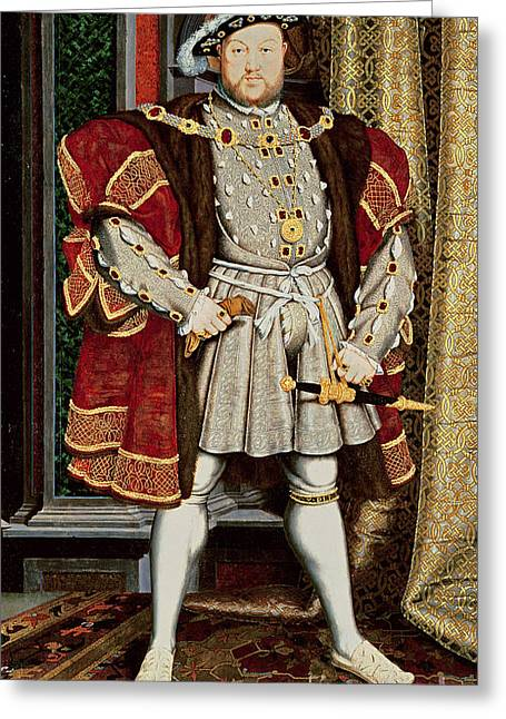 Full-length Portrait Paintings Greeting Cards - Henry VIII Greeting Card by Hans Holbein the Younger