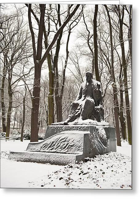 Henryk Sienkiewicz Monument In Winter Greeting Card