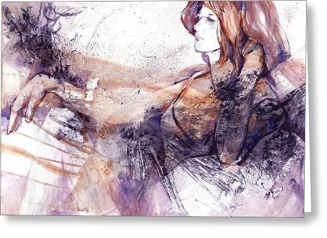 Her Elegance Greeting Card by Joan  Jones