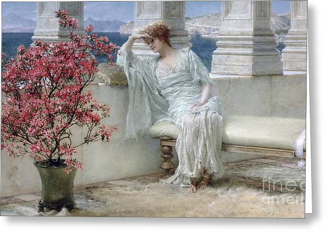 Lost In Thought Paintings Greeting Cards - Her eyes are with her thoughts and they are far away Greeting Card by Sir Lawrence Alma-Tadema