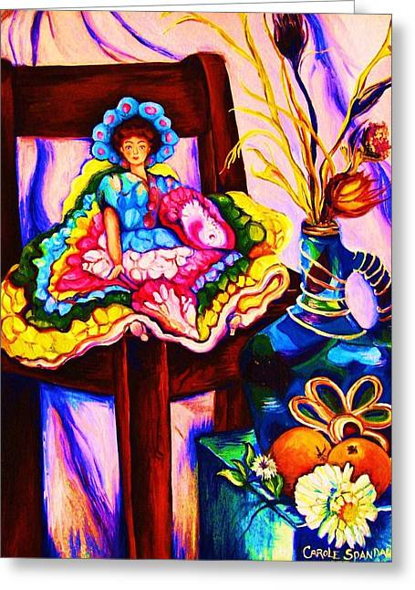 Her Little Parasol Greeting Card by Carole Spandau