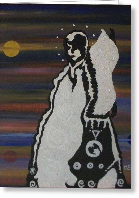 Greeting Card featuring the painting Her Name Is Balance by Carolyn Cable