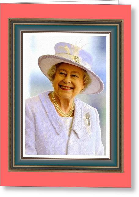 Her Royal Highness Queen Elizabeth The Second. No. 2 P B With Alt. Decorative Ornate Printed Frame. Greeting Card by Gert J Rheeders