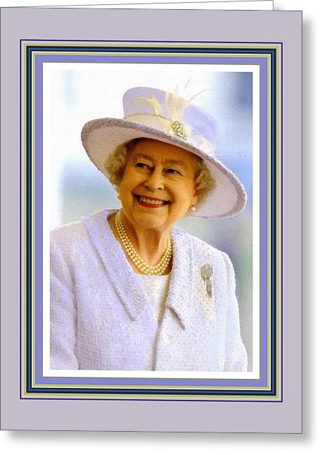 Her Royal Highness Queen Elizabeth The Second. No. 2 P B With Decorative Ornate Printed Frame. Greeting Card by Gert J Rheeders