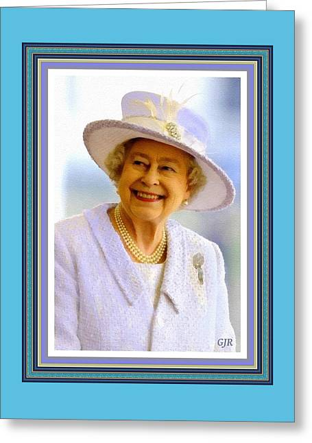 Her Royal Highness Queen Elizabeth The Second. No.2 P A With Alt. Decorative Ornate Printed Frame. Greeting Card by Gert J Rheeders