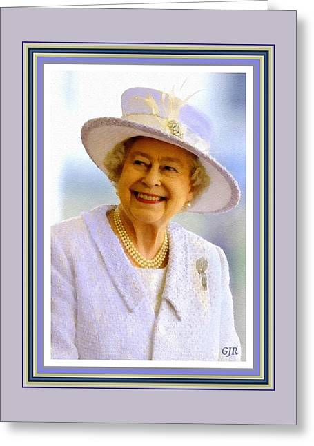 Her Royal Highness Queen Elizabeth The Second. No.2  P A With Decorative Ornate Printed Frame. Greeting Card by Gert J Rheeders