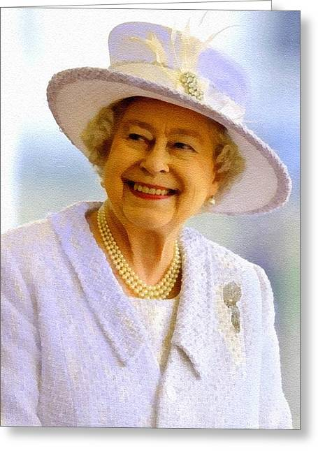 Her Royal Highness Queen Elizabeth The Second. No.2 P B Greeting Card by Gert J Rheeders