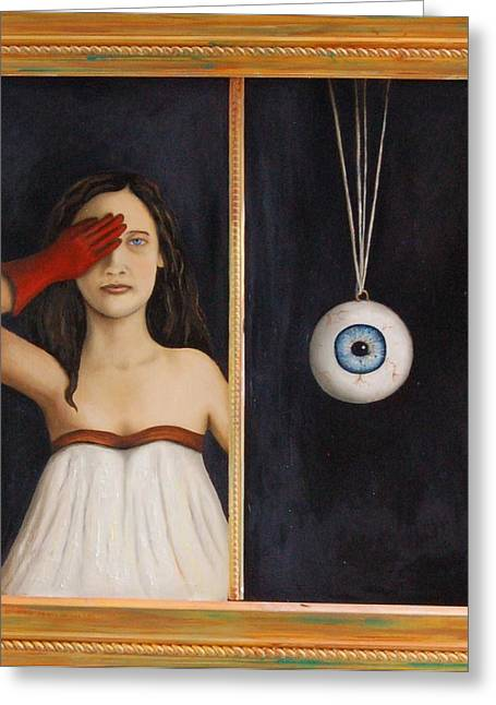 Her Wandering Eye Greeting Card by Leah Saulnier The Painting Maniac