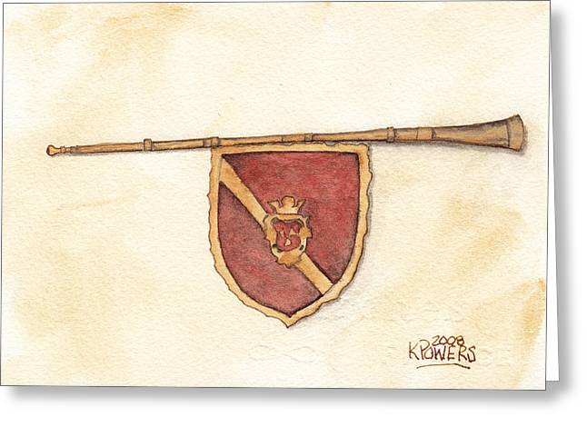 Heraldry Trumpet Greeting Card by Ken Powers