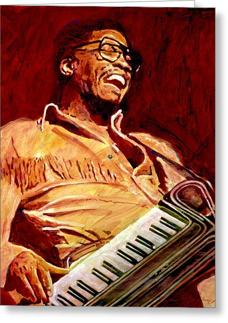Herbie Hancock Rockit Greeting Card by David Lloyd Glover