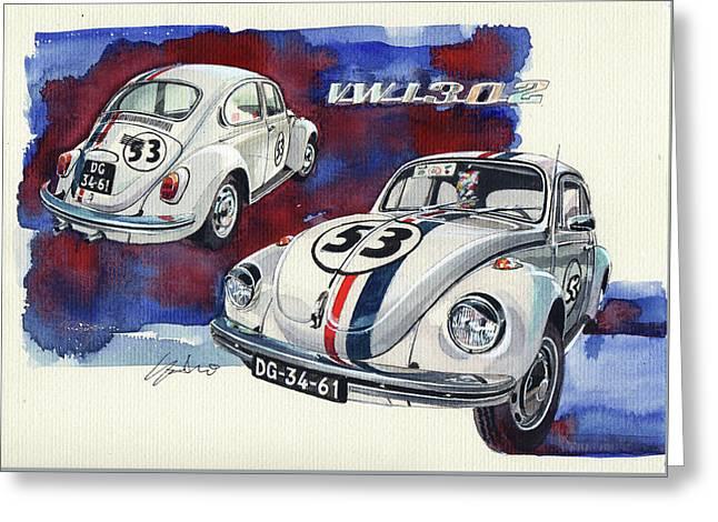 Herbie Vw Beetle Greeting Card
