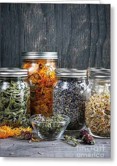 Herbs In Jars Greeting Card