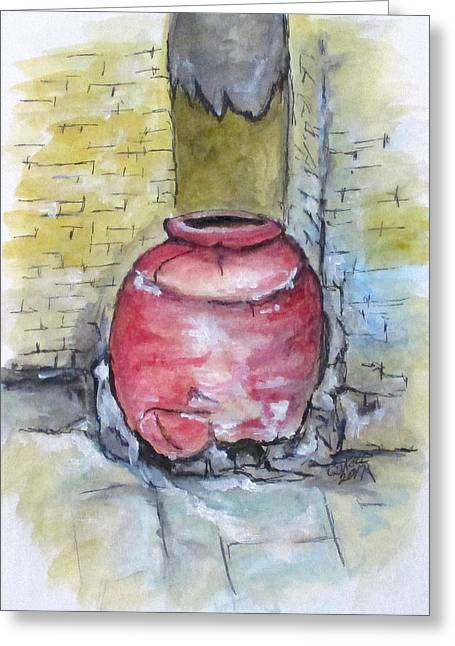 Greeting Card featuring the painting Herculaneum Amphora Pot by Clyde J Kell