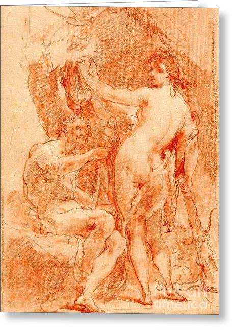 Hercules And Omphale Greeting Card by Pg Reproductions
