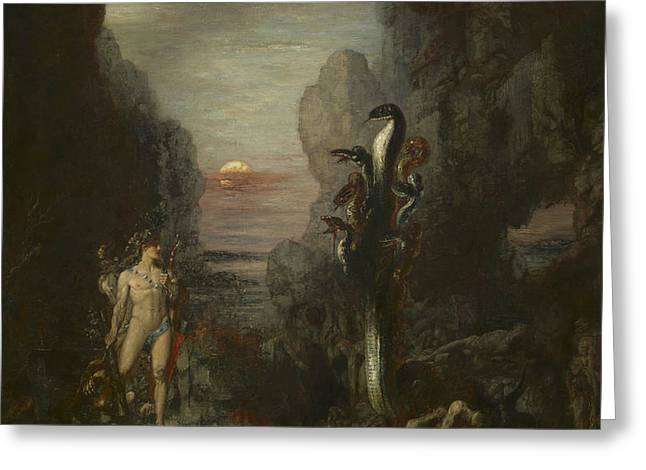 Hercules And The Lernaean Hydra Greeting Card by Gustave Moreau