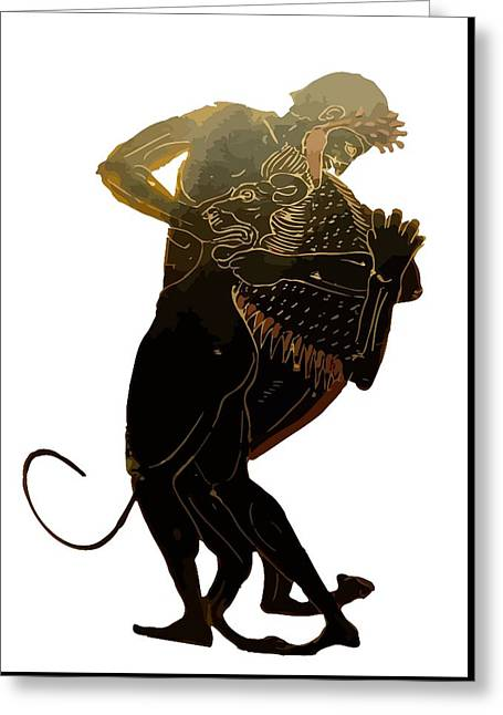 Hercules And The Nemean Lion Greeting Card by Tracey Harrington-Simpson