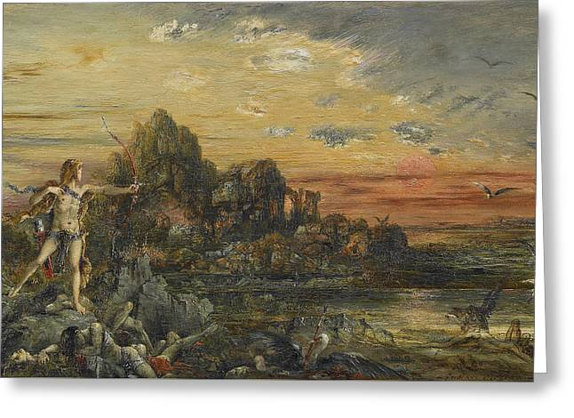 Hercules And The Stymphalian Birds Greeting Card by Gustave Moreau