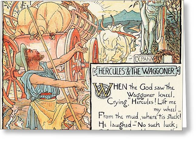 Hercules And The Waggoner From The Book Greeting Card