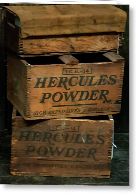 Greeting Card featuring the photograph Hercules Dynamite Crates by Chris Flees