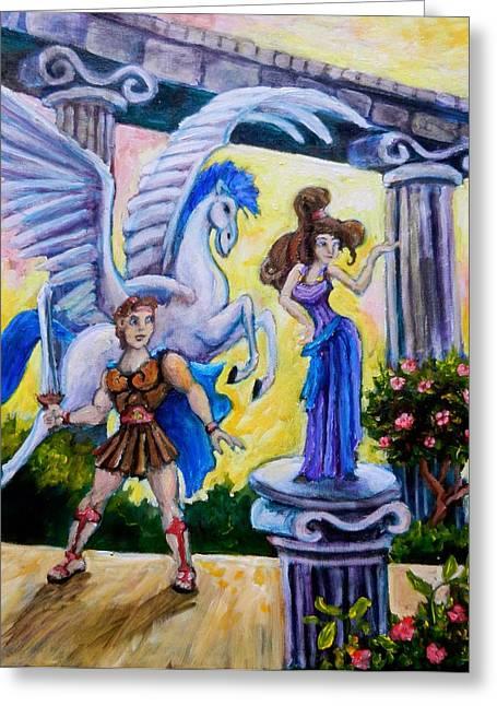 Hercules Pegasus And Meg Greeting Card by Sebastian Pierre
