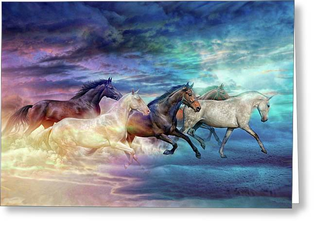 Herd Of Horses In Pastel Greeting Card