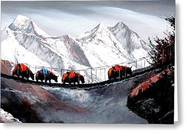 Herd Of Mountain Yaks Himalaya Greeting Card