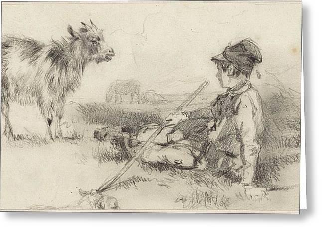 Herdersjongen In Het Gras Gezeten Greeting Card by MotionAge Designs