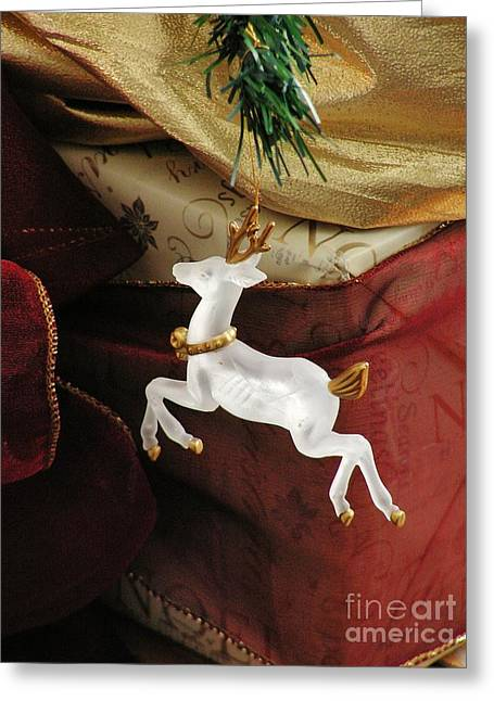 Here Comes Prancer Greeting Card by Joy Bradley